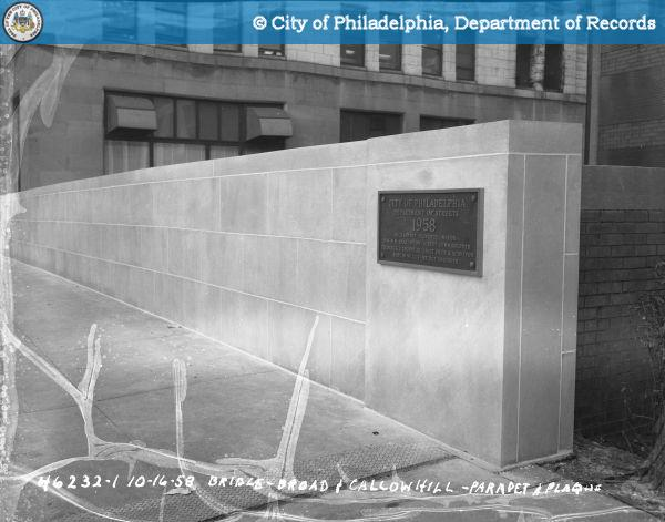 Bridge - Broad and Callowhill Streets - Parapet and Plaque.