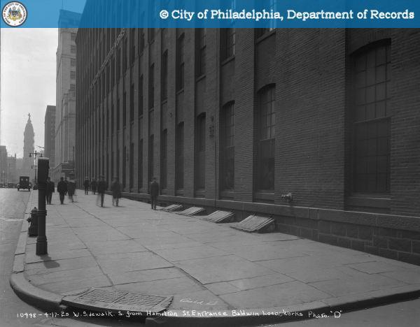 "West Sidewalk South from Hamilton Street - Entrance - Baldwin Locomotive Works. Photo ""D""."